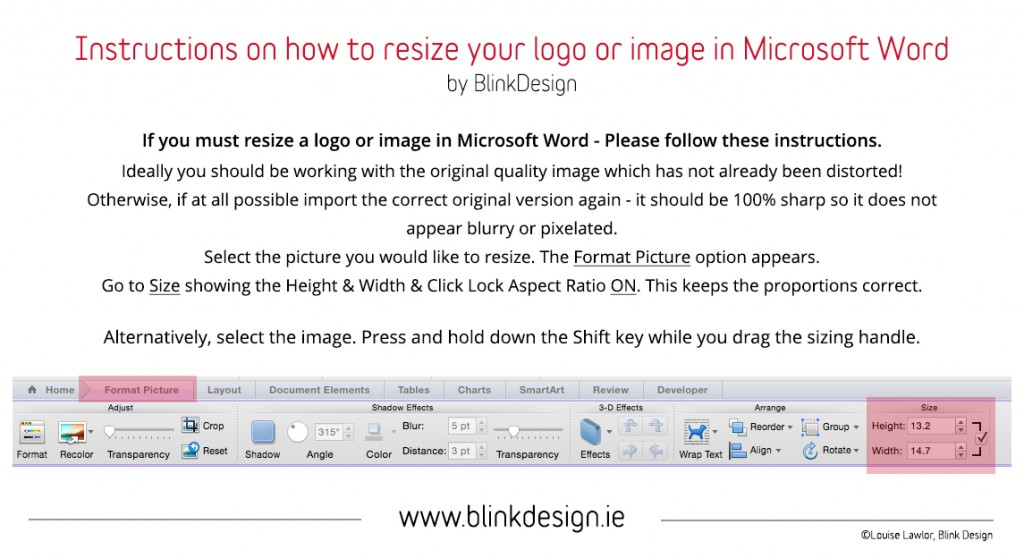 Blink Design - Instructions on hopwe to resize your logo in Microsoft Word